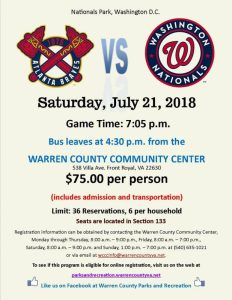 Braves vs. Nationals - Bus ride to the game! @ Warren County Community Center