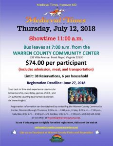 Bus Trip to Medieval Times @ Warren County Community Center