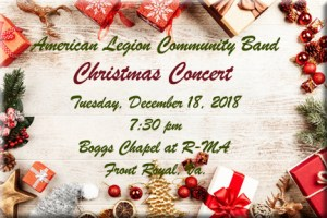 American Legion Community Band Christmas Concert @ Boggs Chapel at R-MA
