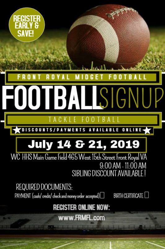 Front Royal Midget Football - Register early and save ...