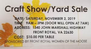 Fall Craft Show @ Front Royal Moose Lodge