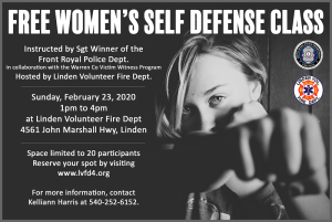 Free Women's Self Defense Class @ Linden Volunteer Fire Department