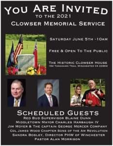 Clowser Memorial Service @ The Historic Clowser House
