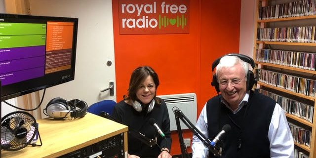 Judy DeWinter and John Smeeton in the Royal Free Radio studio