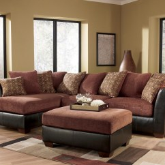 Faux Leather Sectional Sofa Ashley Chesterfield Definition Furniture – Larson 31400 Cinnamon ...