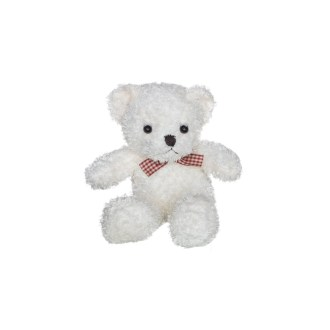 white teddy bear with bow plush stuffed animal 10in