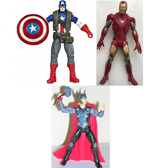 3 fig Avengers Thor+Iron Man+Captaine América 2011 Marvel Hasbro 10 cm