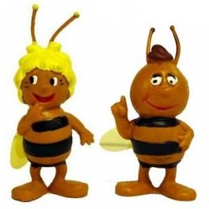 Maya l'abeille et willy 2 figurines 1976 Apollo Film Schleich W germany.