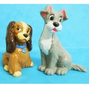 2 figurines La Belle et le Clochard Disney Bullyland.