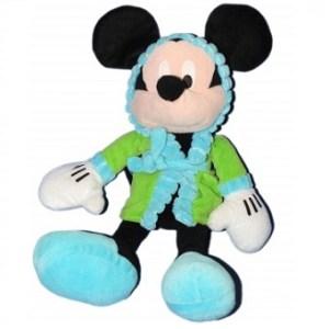 Mickey Peluche avec peignoir vert et bleu Disney.