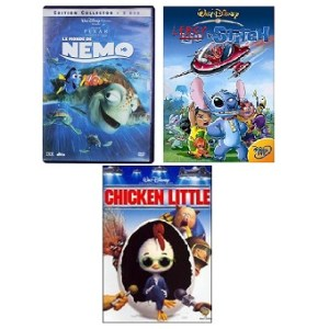3 DVD Disney Leroy et Stitch + Chicken Little + Le Monde de Némo