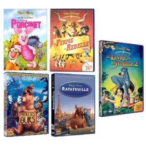 Lot 5 DVD DisneyLe Livre de la Jungle 2+Les aventures de Porcinet+Frère des ours+La ferme se rebelle+Ratatouille