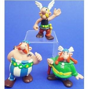 3 figurines Astérix et Obélix Bully 1974