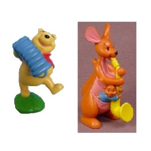 Winnie l'ourson + Maman gourou 2000 2 Figurines Musiciens Disney