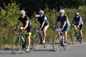 Riders in the Royal LePage In the Comox Valley Petite Fondo for the Shelter Foundation.