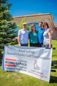 Organizing Committee Members of Saskatoon's Annual Golf Tournament for Shelter, from L to R: Royal LePage Vidorra broker/owner Norm Fisher, Royal LePage Hallmark sales representative Lisa Poier, Royal LePage Vidorra sales representative Lyndon Neher and Royal LePage Saskatoon Real Estate office administrator Colette Noll-Gates. Missing is Royal LePage Vidorra sales representative Jillian Moore.
