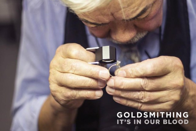 Brian Wong hand crafting bespoke goldsmith wedding jewellery