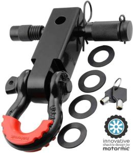 Motormic Unique Shackle Hitch Receiver - Trailer Lock Pin and 3-4 Inch D Shackle