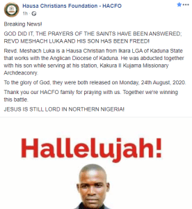 Anglican priest and his son, 10, regain their freedom days after they were abducted in Kaduna
