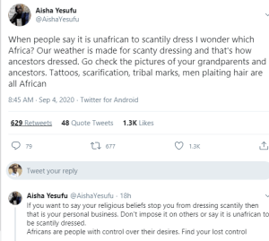Our weather is made for scanty dressing and that's how ancestors dressed - Aisha Yesufu