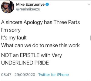 Mike Ezuruonye finds faults with Kunle Afolayan's apology