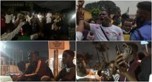 Nigerian youths gather at the Lagos State House of Assembly to protest SARS brutality and call on the government to #endsars (video)