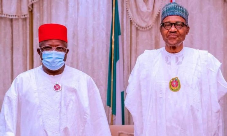 Defection: APC leadership presents Gov. Umahi to President Buhari at Aso Villa