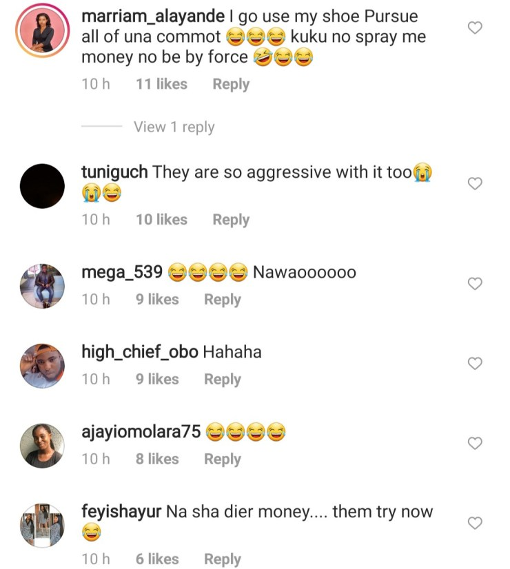 'The couple looked unhappy'- Nigerians react to viral video of couple being sprayed N10 notes by their friends at their wedding