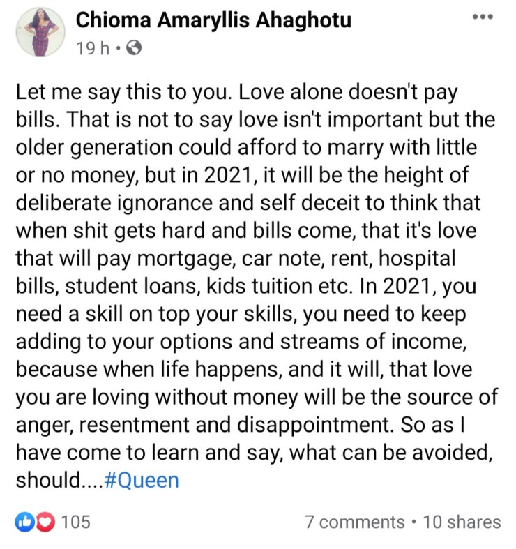 """Love alone doesn't pay bills"" Chioma Amaryllis warns intending couples"