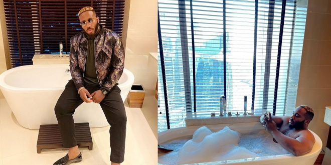"""I have time for all of you today"" – Kiddwaya says as he shares photo of himself in a bathtub after Nigerians dragged him for being a showoff"