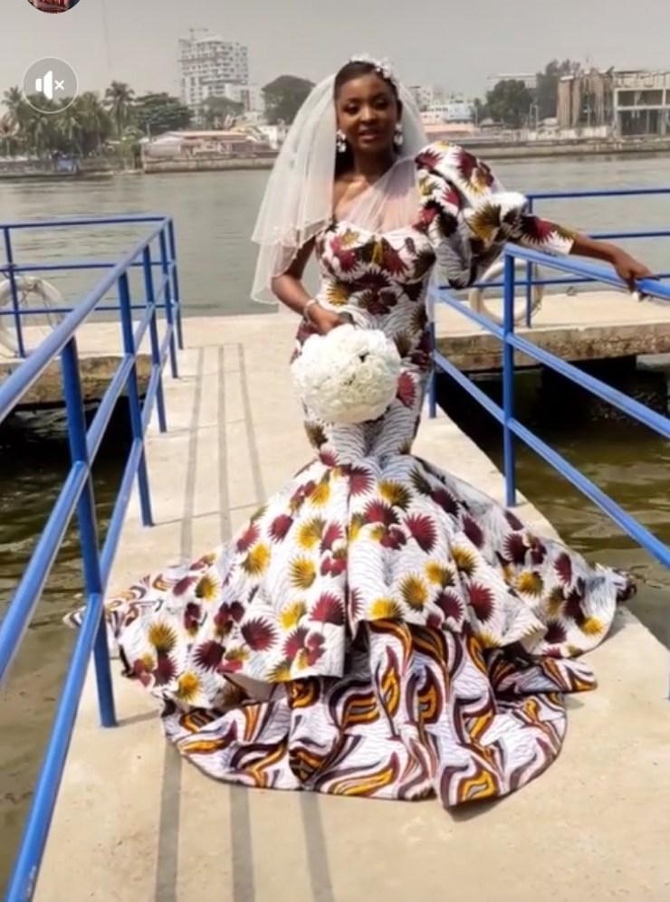 Nigerian bride goes viral after wearing Ankara dress to her white wedding