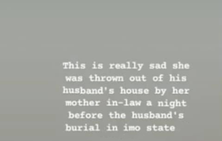 Widow and her children thrown out of her husband's house by her mother-in-law a night before the burial of her late husband in Imo state (video)