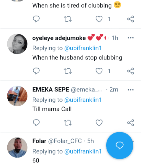 'What is the ideal age for a man to stop breathing'-Nigerians respond after Ubi Franklin asks 'What is the ideal age for a woman to stop clubbing?'