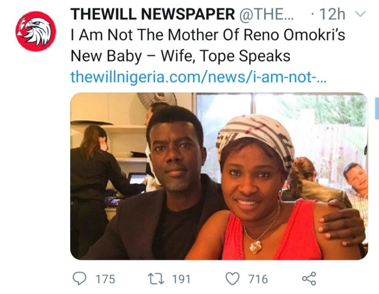"""""""We stand by our story"""" News publication insists Reno had a child with another woman as photo of Reno with his 'wife' at his child's dedication is compared to other photos of his wife"""