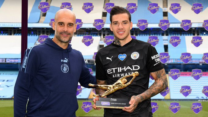 Manchester City goalkeeper, Ederson Moraes wins the Premier League Golden Glove for the second season in a row
