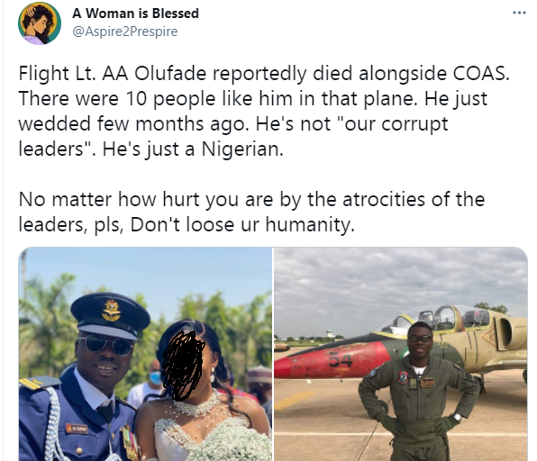 Friends mourn newly married NAF pilot who died in a plane crash with Chief of Army Staff