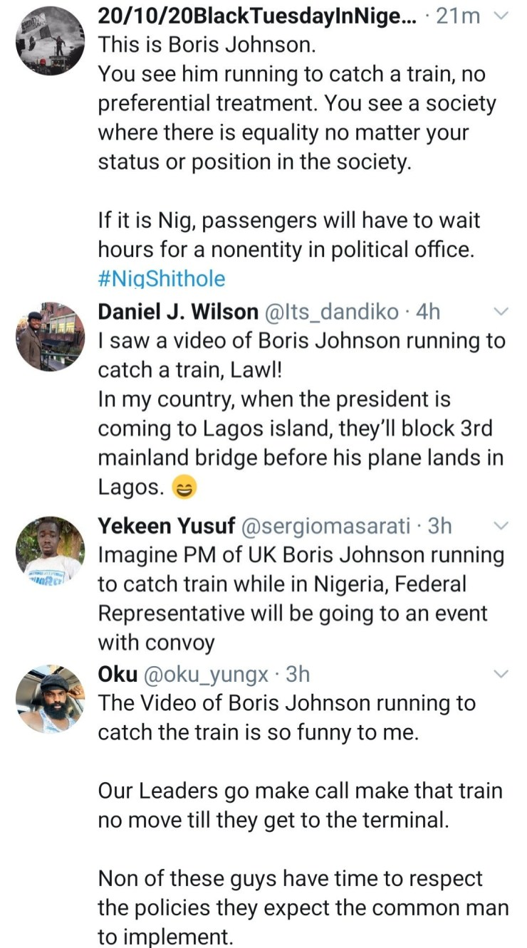 Nigerians react as UK Prime Minister, Boris Johnson is seen running to catch a train