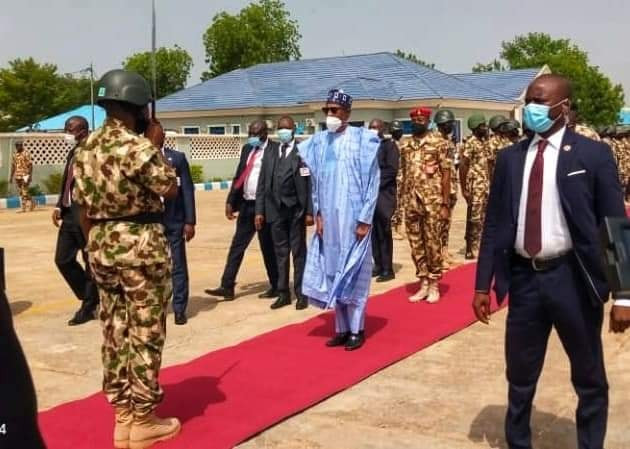 Photos of President Buhari in Borno