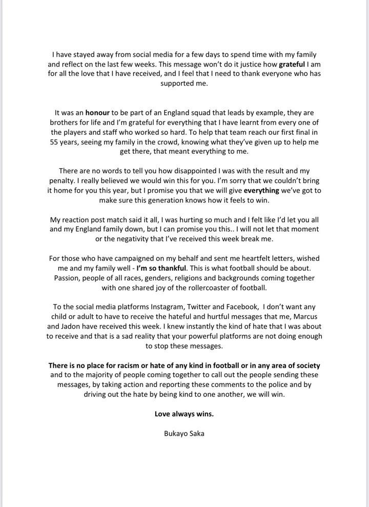 Arsenal Star, Bukayo Saka Finally Breaks Silence After Suffering Racist Abuse