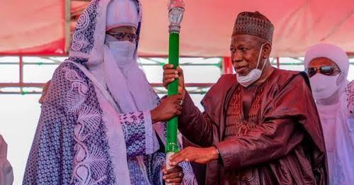 Ganduje presents staff of office to Emir of Bichi, Nasiru Ado-Bayero