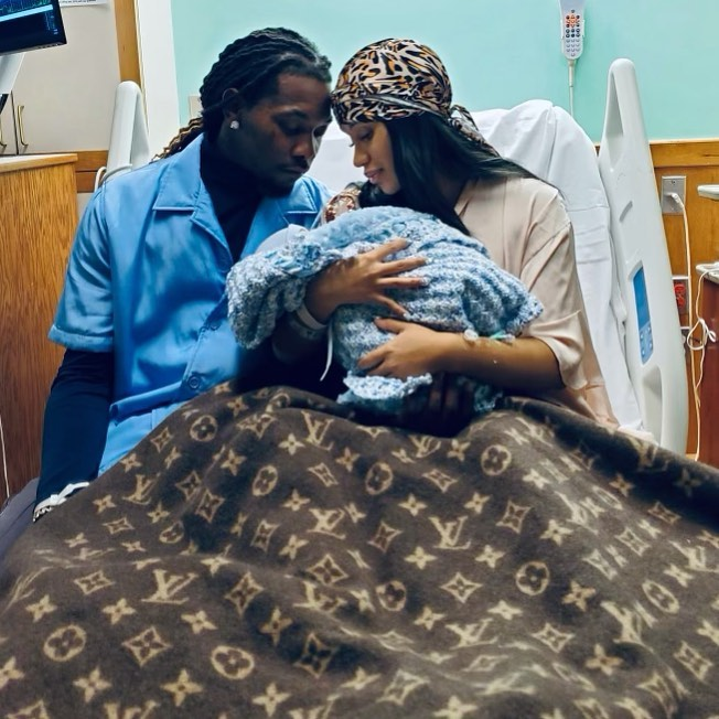 Rappers Cardi B and Offset welcome their second child, a son. (Photo)