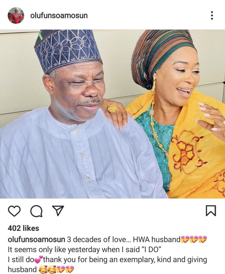 Ex-Gov Amosun, wife celebrate 30th wedding anniversary