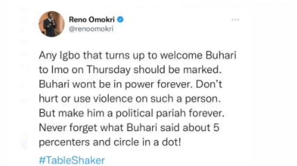 Don't welcome President Buhari on Thursday - Reno Omokri tells Imo state residents