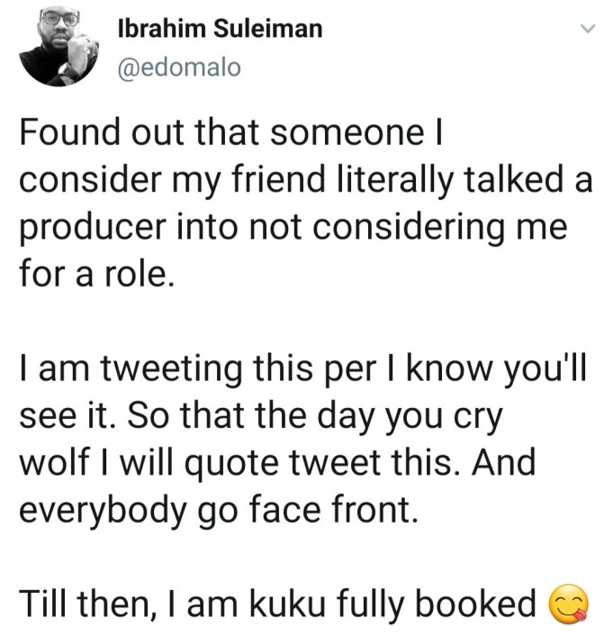 Actor, Ibrahim Suleiman reveals a friend blocked him from getting a movie role