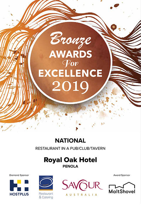 National - The Best Restaurant in a Pub Award South Australia - The Royal Oak Penola