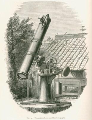 """Illustrazione di un telescopio riflettore, da """"Contributi alla fisica solare"""" di J Norman Lockyer (1874)"""