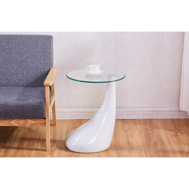 High Gloss Glass Side Table Coffee Tea Living Room Modern Furniture White