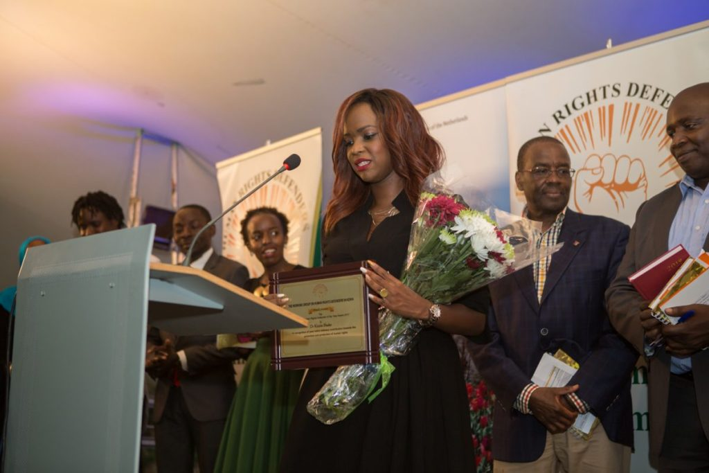 Dr Kizzie Shako giving the victory speech after winning the Upcoming Human Rights Defender of the Year 2017
