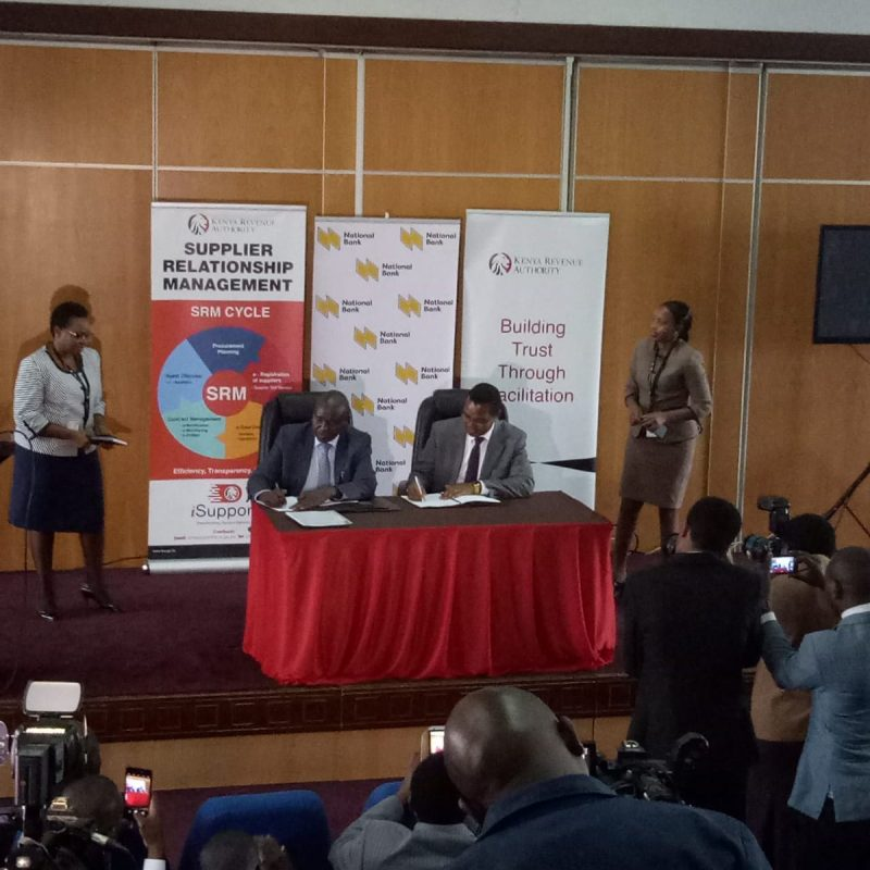 Kenya Revenue Authority (KRA) and the National Bank of Kenya (NBK) have signed a Memorandum of Understanding that will benefit Government Procurement Opportunities (AGPO) registered suppliers.