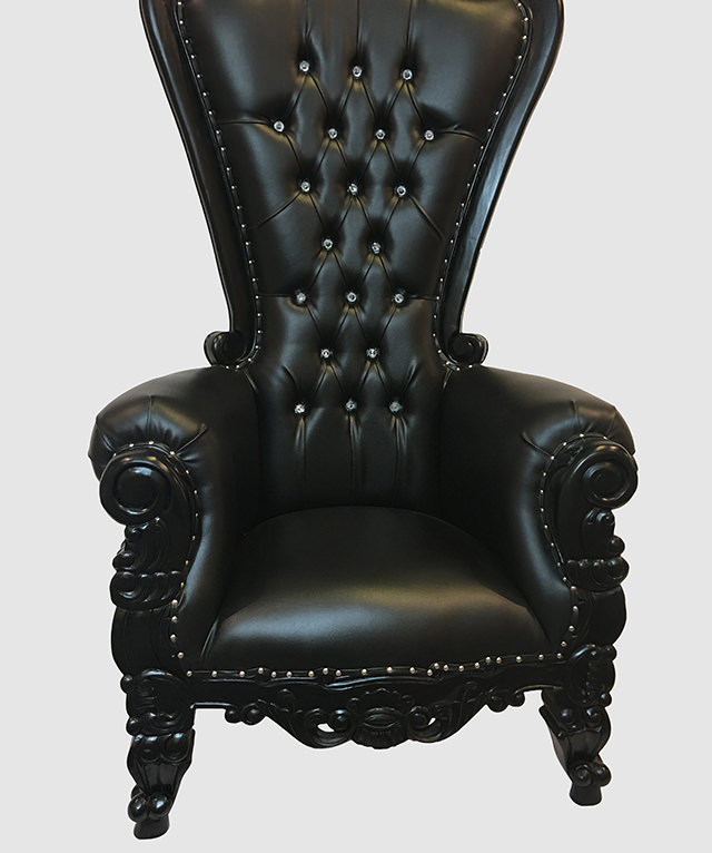 High Back Throne Chair Black  Royalty Furniture Store